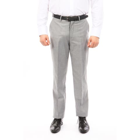 Men Solid Wool Dress Pant Flat Front Modern Fit