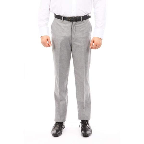 Men Solid Wool Dress Pant Flat Front Modern Fit