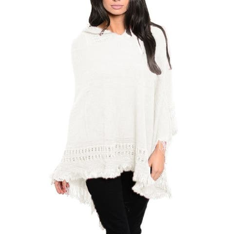 Peach Couture Warm Crochet Hooded Fringe Wrap Shawl Poncho Cream