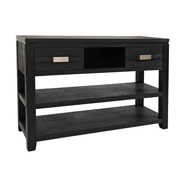 Wooden Sofa Table With 2 Open Shelves