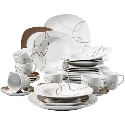 30-Piece Ceramic Tableware Set Brown Lines Patterns Dinner Sets