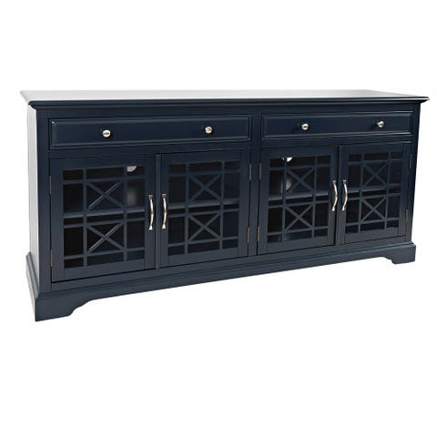70 Inch Media Unit with 2 Drawers and 4 Doors with X motif details, Blue