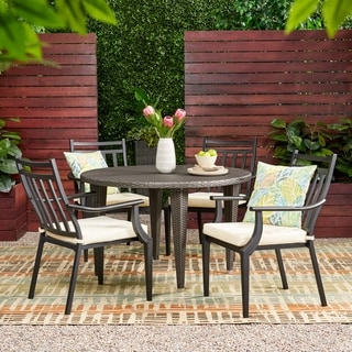 Delmar Outdoor 5 Piece Dining Set with Wicker Table by Christopher Knight Home
