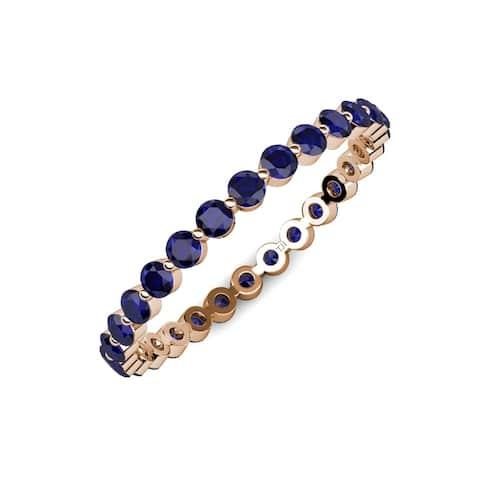Trijewels Blue Sapphire 3/4 ctw Womens Eternity Ring 14KR Gold