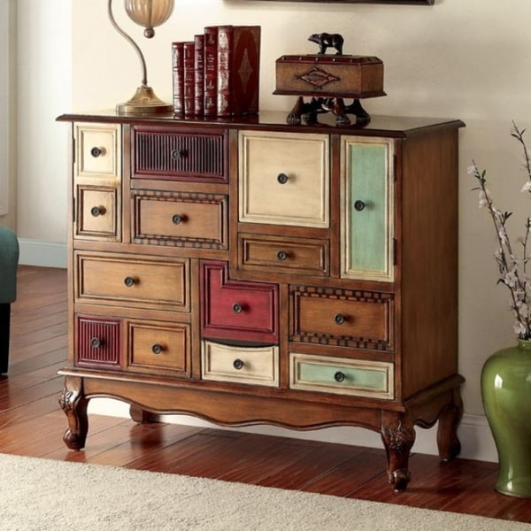9-Drawer Storage Chest, Multi Color and Antique Walnut