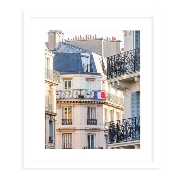 FRENCH BALCONY FLAG White Framed Giclee Print By David Phillips