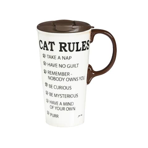 Cat Rules 17 fl. oz. Ceramic Travel Cup with Matching Gift Box