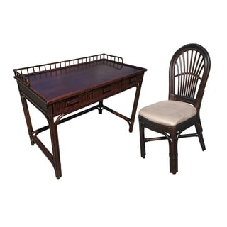 Rattan 3 Drw Writing Desk with Stefani Side Chair