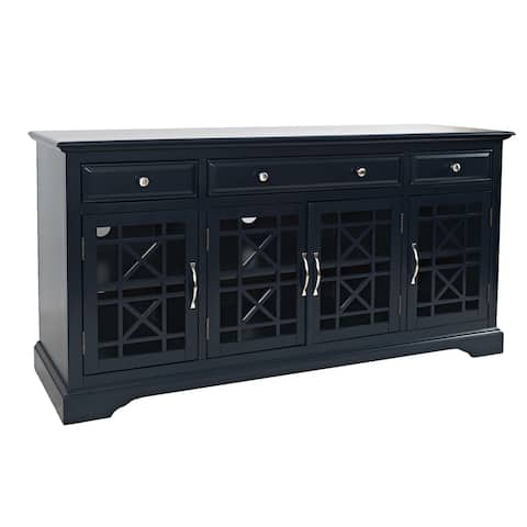 60 Inch Media Unit with 3 Drawers and 4 Doors with X motif details, Blue
