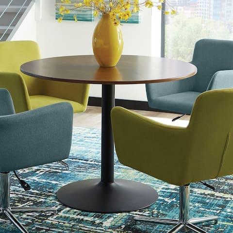 Carson Carrington Madesjo Walnut and Black Pedestal Base Dining Table