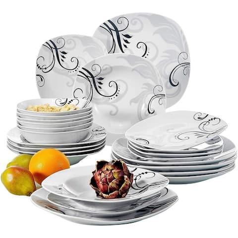 24-Piece Ceramic Dinnerware Set Decal Patterns Pottery Plate Sets
