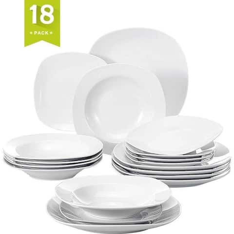 18 Pieces Dinnerware Set Square Dishes White, Service for 6