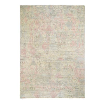"""Shahbanu Rugs THE PASTEL COLLECTION, Silk with Textured Wool Hand Knotted Oriental Rug (10'0"""" x 14'2"""") - 10'0"""" x 14'2"""""""