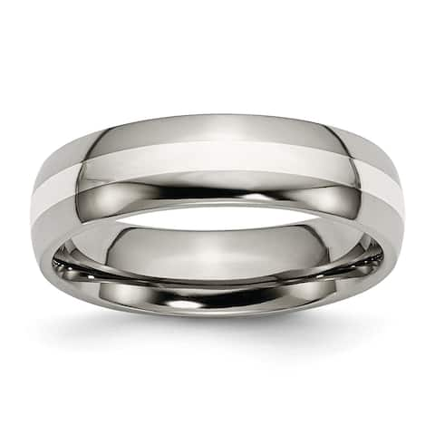 Chisel Titanium Sterling Silver Inlay 6mm Polished Wedding Band