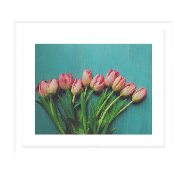 PINK TULIPS White Framed Giclee Print By Olivia St. Claire