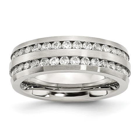Chisel Stainless Steel 7mm Double Row CZ Ring
