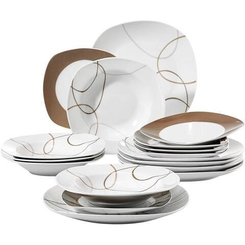 18-Piece Porcelain Tableware Set Brown Lines Patterns Dinner Sets