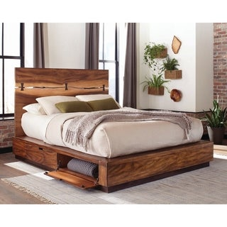 Carbon Loft Clell Smokey Walnut and Coffee Bean Storage Platform Bed