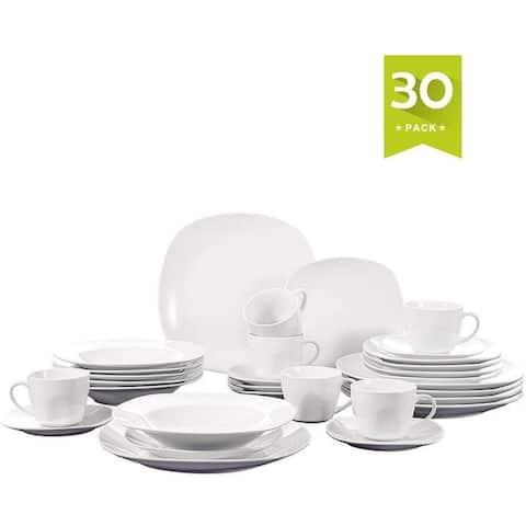 30-Piece Porcelain White Dinnerware Set for 6, Stoneware Serving