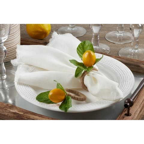 Lemon Design Napkin Ring Holders (Set of 4)
