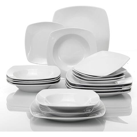 Stoneware Dinner Soup Plates Cups 18-Piece Porcelain Dinnerware Set