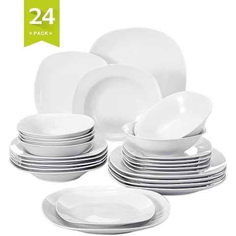 24 Pieces Dinnerware Set, Square Plates and Bowls Sets