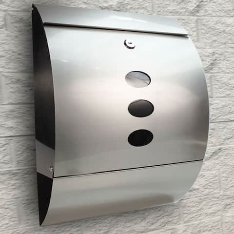 Home Office Durable Stainless Steel Mailbox Silver