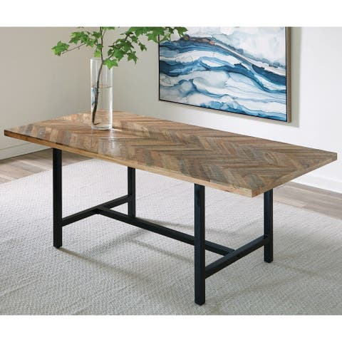 The Curated Nomad Aster Natural Wood and Black Metal Dining Table