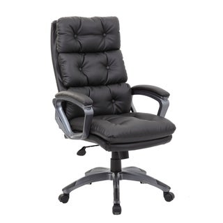 Ergonomic Office Chair High Back Leather Adjustable Tilt Angle Flip-up Arms Executive Computer Chair in Black