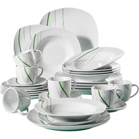 30-Piece Ceramic Dinnerware Set Green Stripe Patterns Plate Sets