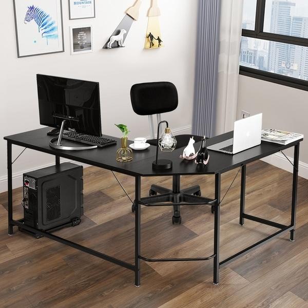 Modern L-shaped Computer Desk Corner Office Laptop Gaming Table