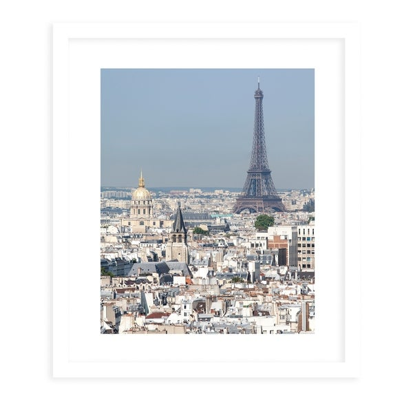 EIFFEL TOWER White Framed Giclee Print By David Phillips