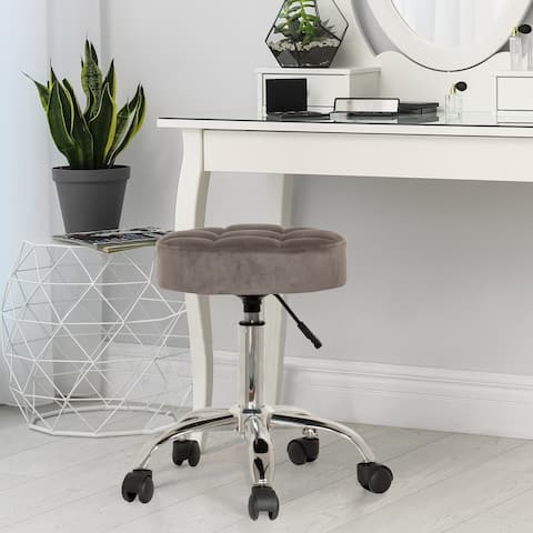Silver Orchid Beyers Tufted Adjustable Backless Vanity/Office Stool