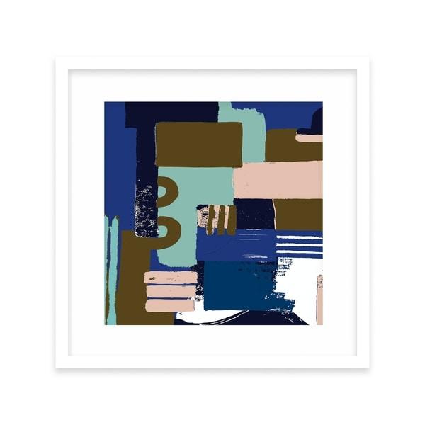 BLOCK BLUE White Framed Giclee Print By Becca Garrison