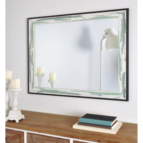 Industrial Sage Wall Mirror - Green/Brown/White