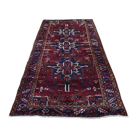 "Shahbanu Rugs Semi Antique Persian Heriz Pure Wool Runner Hand-Knotted Oriental Rug (3'8"" x 8'0"") - 3'8"" x 8'0"""