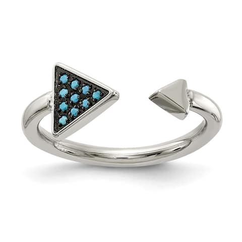 Chisel Stainless Steel Polished with Reconstructed Turquoise Triangle Ring