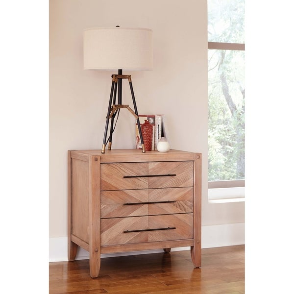 Tawny White Washed Natural 3-drawer Nightstand