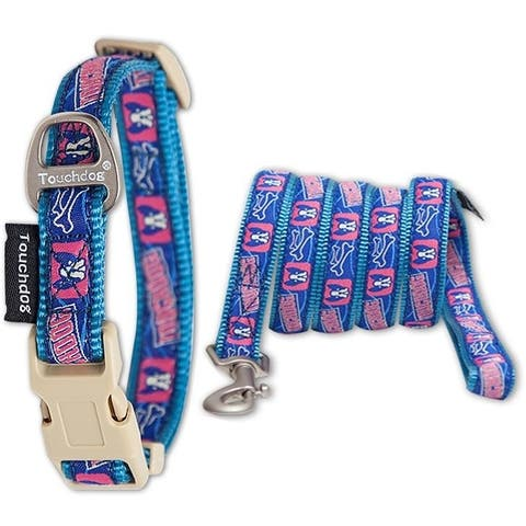 Touchdog 'Bone Patterned' Tough Stitched Embroidered Collar and Leash