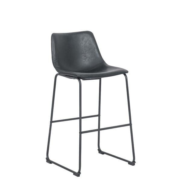 Armless counter stool Black PU.
