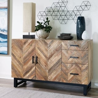 Link to The Curated Nomad Aster Natural Wood and Black Metal 3-drawer Server Similar Items in Dining Room & Bar Furniture