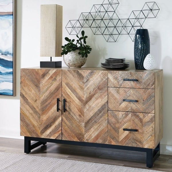 The Curated Nomad Aster Natural Wood And Black Metal 3 Drawer Server Overstock 30709631