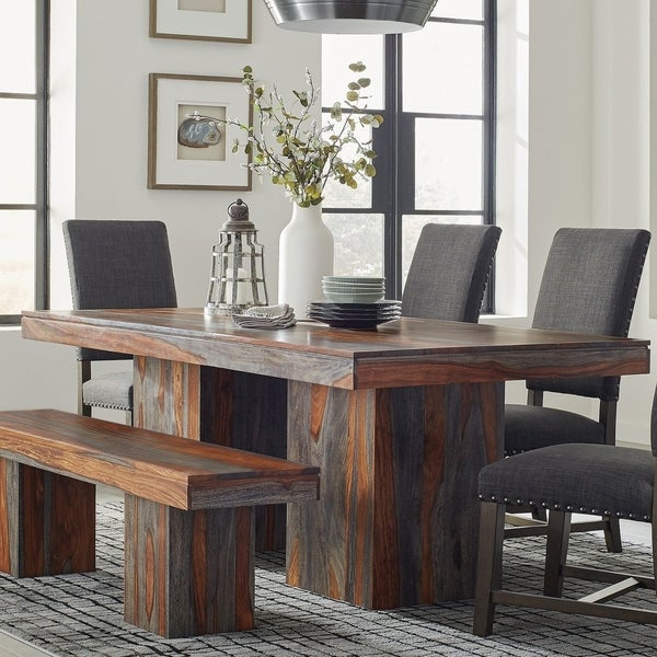 Carbon Loft Zollie Grey Sheesham Double Pedestal Base Dining Table. Opens flyout.