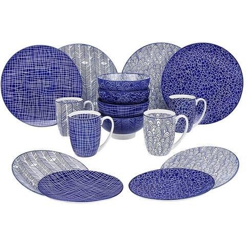 Porcelain Ceramic Dinnerware Set for 4, Blue Pattern Serving Set