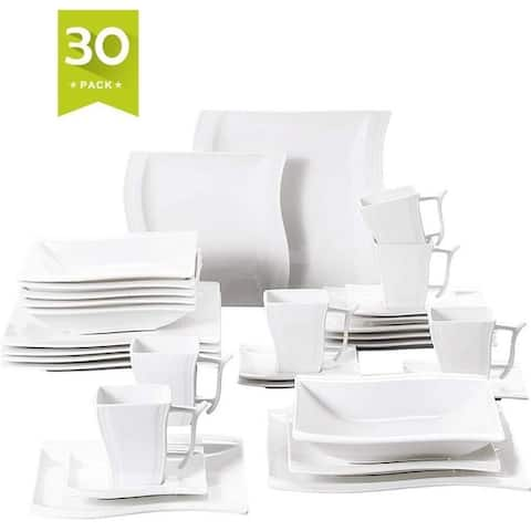30 Pieces Dinnerware Set Square Dishes White, Service for 6