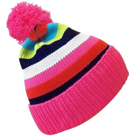 Classic Warm Kids Rainbow Striped Cable Knit Winter Pom Pom Hat
