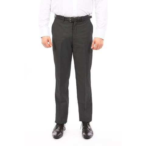 Men Solid Dress Pant Flat Front Slim Fit