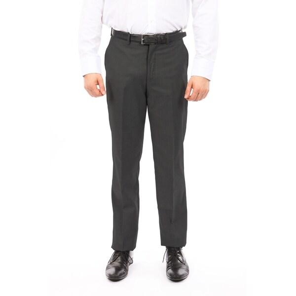 Men Solid Dress Pant Flat Front Slim Fit
