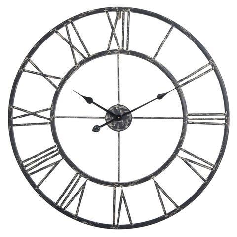"Utopia Alley Oversized Roman Round Wall Clock, Black, 27"""
