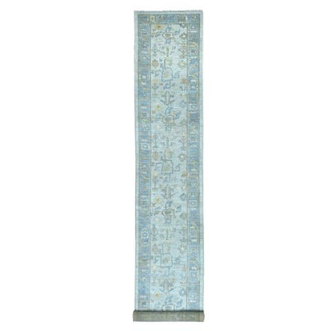 """Shahbanu Rugs Gray Oushak with Soft Velvety Wool XL Runner Hand Knotted Oriental Rug (3'0"""" x 19'5"""") - 3'0"""" x 19'5"""""""